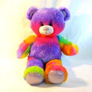 Build-a-bear tie dye rainbow neon teddy bear plush